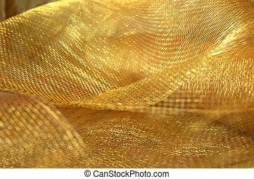 guld, nätbindning, tyg