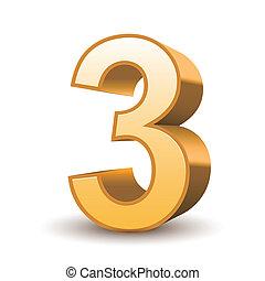 gyllene, 3, glänsande, numrera, 3