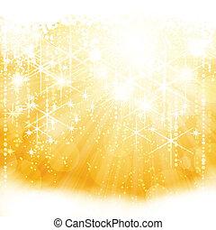 gyllene, brista, lätt, abstrakt, stickande, lyse, stjärnor, suddiga