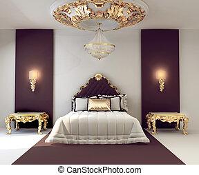gyllene, dubbel, kunglig, lyxvara, sovrum, inre, möblemang