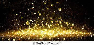 gyllene, glitter, svart, skimmer