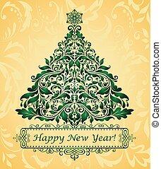 gyllene, hälsningskort, jul