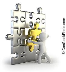 gyllene, infoga, problem, folk, -, liten, 3