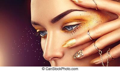 gyllene, kvinna, guld, skönhet, fingernagel, smink, tillbehör, mode