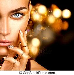 gyllene, kvinna, skönhet, fingernagel, smink, tillbehör, mode