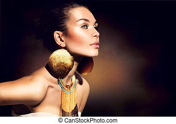 gyllene, kvinna, smink, jewels., mode, portrait., toppmodern