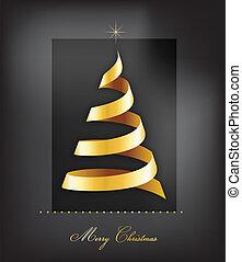 gyllene, lyse, träd, elegant, bakgrund, jul