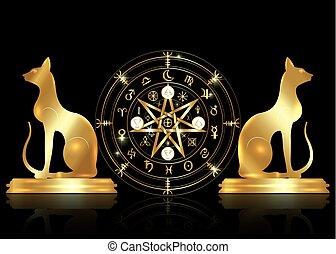 gyllene, sätta, gammal, mystisk, år, mull, mandala, undertecknar, divination., symboler, forntida, runes, isolerat, astrologiska, hjul, wicca, symbol, katter, ockult, wiccan, protection., vektor, häxor, zodiaken