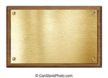 gyllene, trä, isolerat, ram, vit, nameboard, tallrik, eller