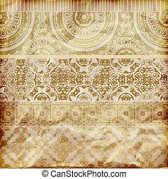 gyllene, vektor, papper, kanter, blommig, struktur, skrynkligt, seamless, florett