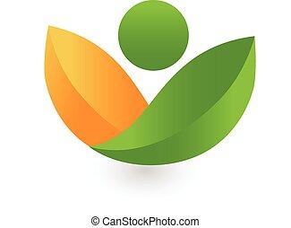 hälsa, det leafs, logo, grön, natur