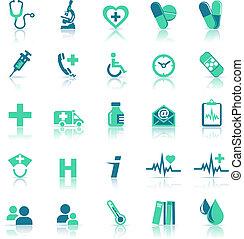 hälsa, medicinsk omsorg, grön, ikonen