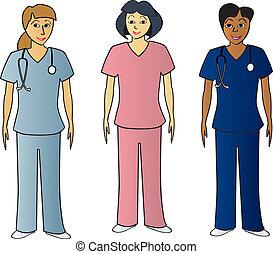 hälsa, pros, kvinnlig, skura