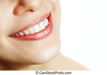 hälsosam, le, kvinna, frisk, tänder