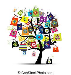 hänger lös, design, inköp, din, träd