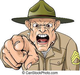 här, ilsket, skrikande, sergeant, drill, tecknad film