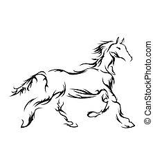 häst, vektor, symbol, illustration