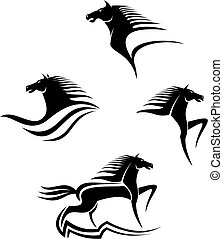 hästar, symboler, svart