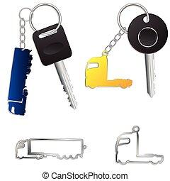 hållare, lastbil, halv-, nyckel