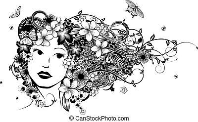 hår, kvinna, mode, illustration