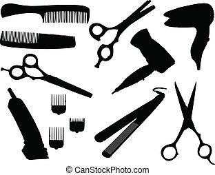 hår, utrustning