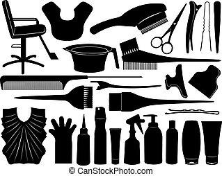 hår, utrustning, färgning