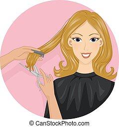 hårklippning, ikon