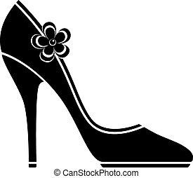 hög, skor, häl, (silhouette)