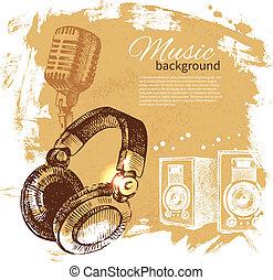 hörlurar, retro, plaska, hand, klick, musik, design, bakgrund., årgång, illustration., oavgjord