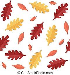 höst, mönster, seamless, leaves.