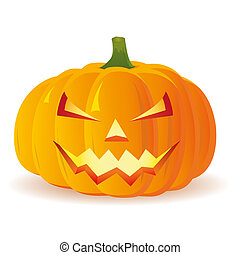 halloween, isolerat, vektor, pumpa, bakgrund, vit