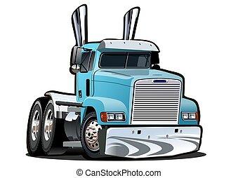 halv-, bakgrund, lastbil, tecknad film, vit, isolerat