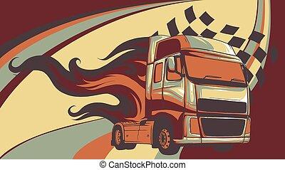 halv-, illustration, design, tecknad film, truck., vektor
