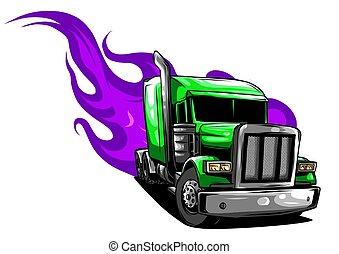 halv-, illustration, vektor, design, truck., tecknad film