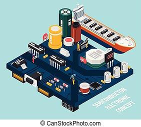 halvledare, elektronisk, komponenten, sjöstad