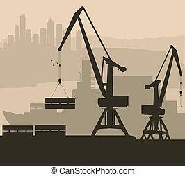 hamn, hamn, vektor, bakgrund, skepp, kran