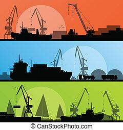 hamn, industriell transportmedel, illustration, sänder, vektor, havsstrand, kollektion, bakgrund, silhuett, kran, landskap