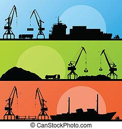 hamn, industriell transportmedel, sänder, vektor, havsstrand, kran, landskap