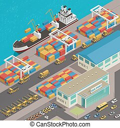 hamn, pråm, hamnplats, gods, isometric