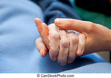 hand, gammal, äldre bry
