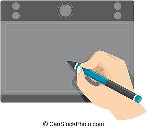 hand, kompress, användande, penna