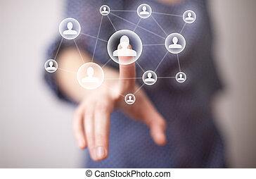 hand, media, tränga, ikon, social