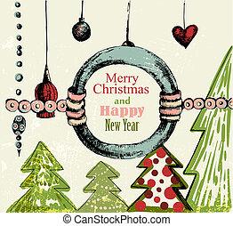handdrawn, retro, bakgrund, jul