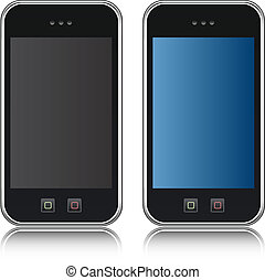 handphone, ringa, vektor, cellformig, iso