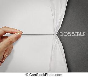 handtag, begrepp, ord, visa, mullig, hand, papper, förvandlat, rynkig, omöjlig