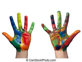 hantverk, hand, konst, barn, målad, färg