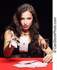 hasardspel, kvinna, röd tabell