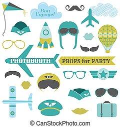 hattar, sätta, glasögon, -, masker, vektor, mustascher, photobooth, egenskaper, flygmaskiner, parti, airplane