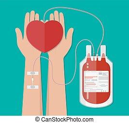 heart., hand väska, donation, blod donator