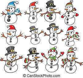 helgdag, jul, snögubbe, vinter